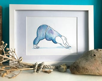 Downward Dog - Galaxy Edition - Fat Positive Watercolour Painting Print