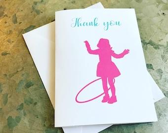 Hula Hoop Silhouette Cards Hula hoop hula hoop note cards hula hoop birthday hula hoop party hula hoop thank you cards