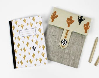 All hand made pouch + cactus A6 notebook