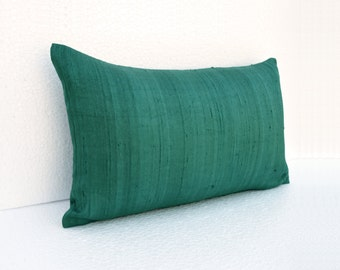 "Silk pillow, teal color,  lumbar pillowcover, size 12""X20"", other sizes available"