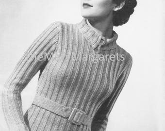 1930s belted sweater knitting pattern