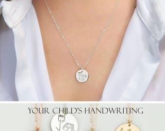 Gifts for mom grandma - make your own necklace, handwriting disc necklace, kid's drawing necklace, personalized engraved necklace DISC11