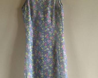 Vintage 80s Summer Dress Romantic Dress Floral Printed Sleeveless Mini Dress  Size S-M