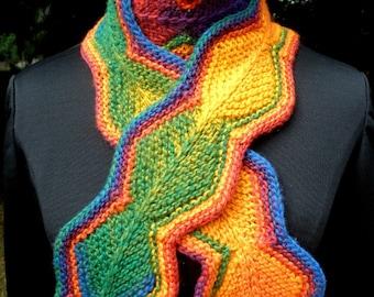 Chain of Diamonds Rainbow Scarf Red Orange Yellow Blue Green Violet Knit