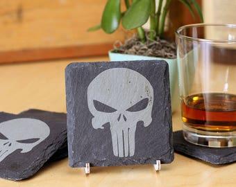 Punisher - Premium Natural Slate Coasters