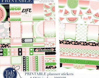 Summer planner stickers for Mambi Happy planner. Printable WATERMELON weekly kit, pink, black, green.