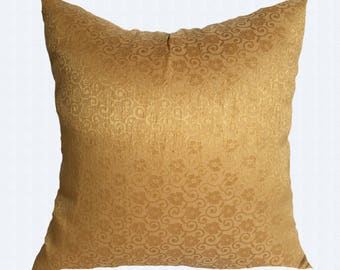 Gold silk pillow Dull gold Decorative Throw Pillow Cover.Festive Pillow,luxury brocade floral cushion cover.  Gold couch pillow .18inch