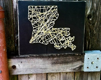 Louisiana String Art, Louisiana Art, Louisiana Sign, Louisiana Gift, New Orleans Sign, New Orleans Gift, New Orleans Art, Who Dat