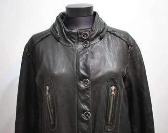 Vintage LEATHER COAT , women's leather parka ................(493)