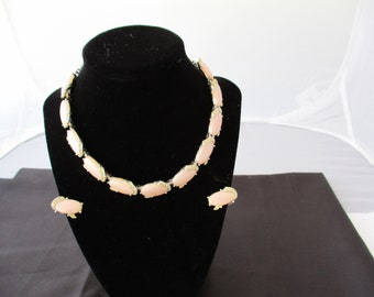 Vintage Kramer pink thermoset necklace with clip on earrings