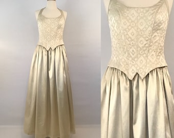 80s Gold Jessica McClintock Gunne Sax Dress