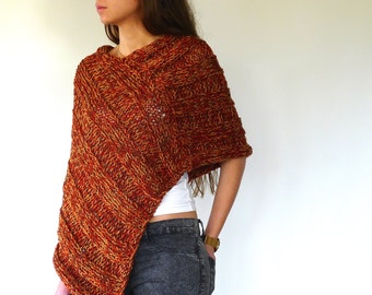Womens knit wool poncho | Hand knitted poncho for women | Winter shawl wrap | Loose knit poncho
