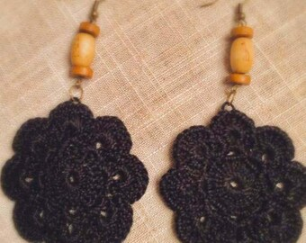 Black Beauty Crochet Earrings with Wooden Beads on Brass Hooks