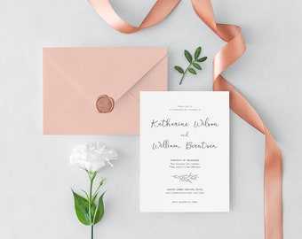 Rustic Calligraphy Wedding Invitation Template Instant Download, Editable Wedding Invitation  Template - Botanical Rustic Branch : IDB004A