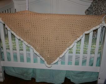 Dark Cream Ruffle Baby blanket