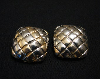 BIG MINT Vintage Gold and Silver Tone Textured Square Clip Earrings