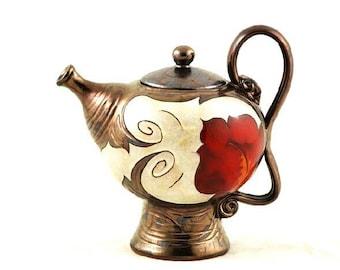 Ceramic Tea Maker, Pottery Tea Pot, Pearl teapot, Handmade teapot, Stoneware teapot, Unique teapot, Hostess gift, Mother's day gift