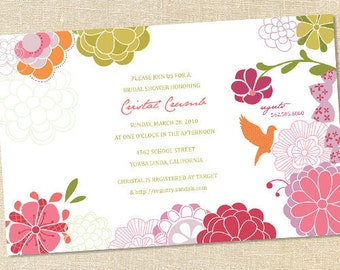 Sweet Wishes Modern Floral Bird Bridal Baby Shower Invitations - PRINTED - Digital File Also Available