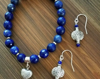 Stretch Bliss Bracelet with Faceted Lapis Lazuli and Sterling Silver