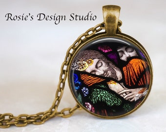 Mary magdalene etsy jesus and mary magdalene pendant necklace jesus stained glass necklace religious jewelry art mozeypictures Gallery