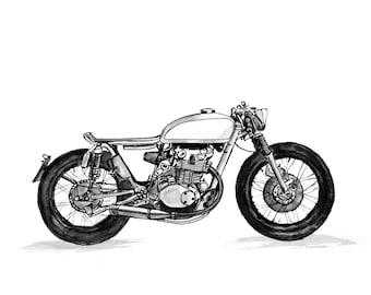 Honda Cafe Racer Cafe Racer Gift Cafe Racer Art Cafe Racer CB 550 Honda Print Honda Poster Motorcycle Gift Idea Honda Art Motorcycle Gift