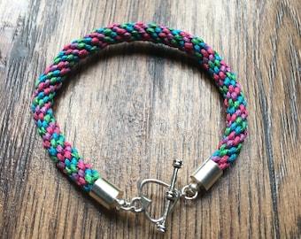 Braided multicoloured Kumihimo Bracelet