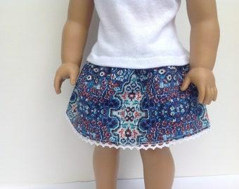 Doll skirt, 18 inch doll clothes, summer skirt, blue print skirt, elastic waist