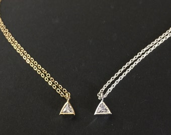 Tiny Triangle CZ Necklace, Dainty CZ Necklace, Sparkle CZ Necklace, Minimalist Necklace, Delicate Chain, Petite Geometric Necklace, Simple