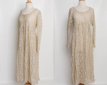 vintage 80s lace dress | 90s beige maxi dress