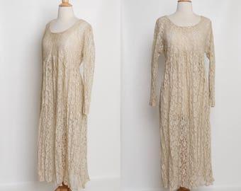 vintage 80s 90s lace dress | beige maxi dress