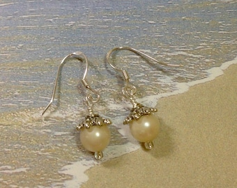 "Pearl Earrings on Sterling Silver Ear Wires with Antique Silver Bead Caps, Vintage 7mm Faux Pearls 1.5"" Long Previously 25 Dollars ON SALE"
