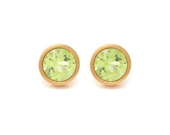 Peridot Stud Earrings - Gemstone POP Stud Earrings - Peridot in Yellow Gold - 18k Gold Vermeil - Studs