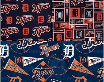 MLB Logo Detroit Tigers Navy & Orange Cotton Fabric by Fabric Traditions! [Choose Your Cut Size]