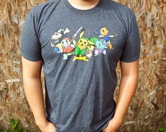 Pokemon / Zelda Four Swords crossover Gray t-shirt SALE  (originally 25 CAD now 19.00 CAD)
