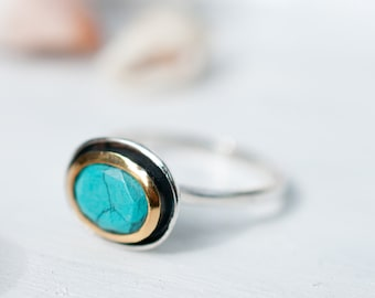 Turquoise Ring ~ Sterling Silver 925 ~ Handmade ~ Gemstone ~ Statement ~ Everyday ~ Solitaire ~ Hippie ~ Bohemian ~December Birthstone MR032