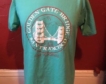 Golden Gate Bridge San Francisco T-Shirt L 80's Love Is Ageless