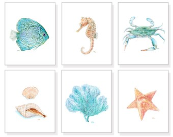 Ocean Art Sea Art Beach Art Print Tropical Watercolor Wall Art Blue Coastal Art Starfish Coral Shell Seashell Seahorse Crab Fish Set of 6
