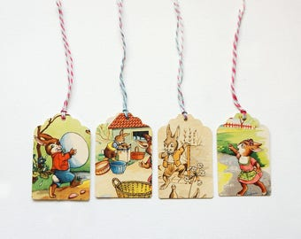 Easter Tags,Paperupcycling Tags,Shabby Easter Tags,Easter Bunny Tags,cute Easter Tags,Paper Recycling