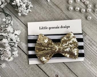 Sequin stripe bow headband