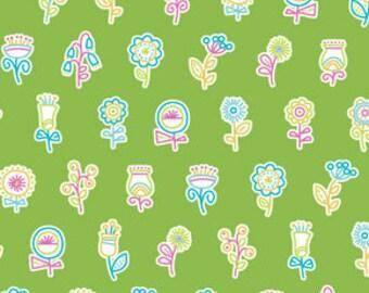 Summersault Flowerpop in Grass by Erin McMorris for Free Spirit - 1 Yard