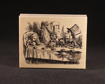 "Mad Tea Party Rubber Art Stamp (3.5"" x 2.5"")"