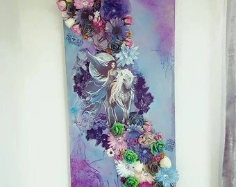 Fantasy art(woman on a horse surrounded by flowers) mixed media canvas