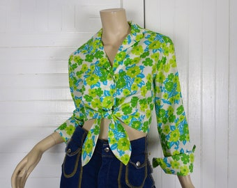 60s 70s Cropped Blouse in Lime Green & Turquoise- 1960s Vintage Mod Flowers Breezy Hippie Festival Crop Top- Wide Collar- Small Summer