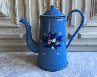 Vintage French enamel coffee pot, enamel jug, cafétiere, hand enamelled beautiful blue and white floral 1930's, enamelware, antique kitchen