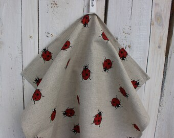 Tea towel with ladybugs Kitchen towel Linen Christmas gift idea with a ladybird Towel for dishes