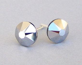 Metallic silver stud earrings, 7mm Swarovski Crystal Light Chrome studs, grey metallic crystal post earrings