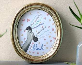 Original Framed Paper Collage  - Telephone - Blah - Ready to Hang - Gold