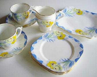 Vintage Tea Set, Art Deco, Bell China, English, Bone China Dish Set, Blue & Yellow, Square Plate, Cake Set, Vintage Bone China, 10 piece