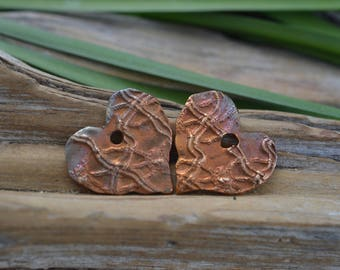 Handmade Bronze Heart Charms