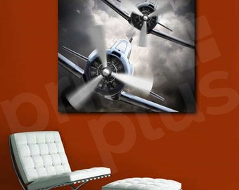 Aircraft Propeller Gray Planes Art Canvas Poster Print Home Decor